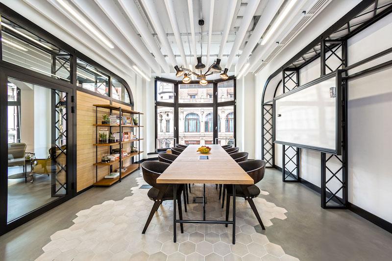 Opera office elegant table and bay windows