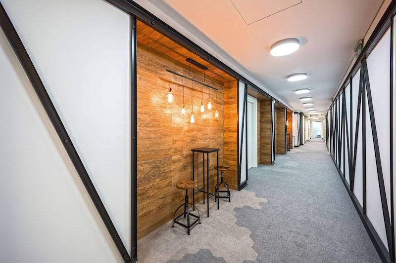 Opera office hallway with private nooks