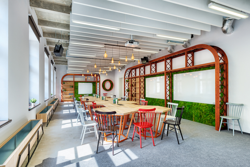 Opera office hexagonal tables and green wall