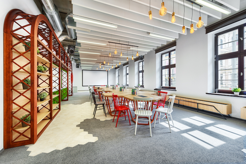 Opera office hexagonal tables and red chair