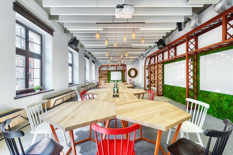 Opera office hexagonal tables and vintage bulbs