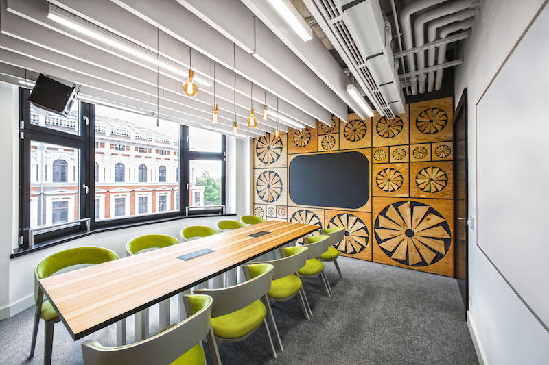 Opera office meeting room with carved out patterns