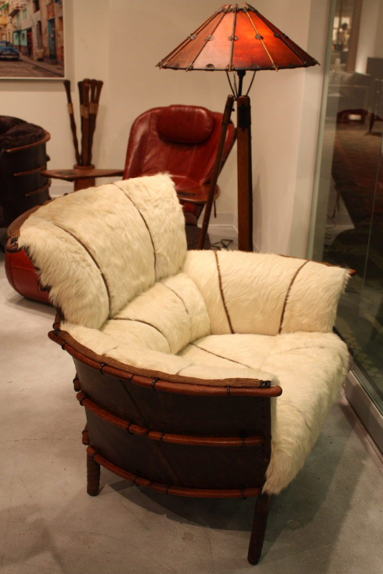 Pacific greeen hair hide armchair