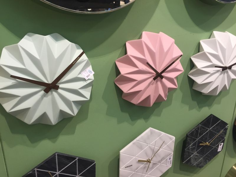 Pale pink clock from karlsson Origami