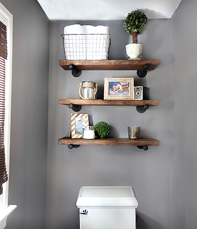 diy bathroom shelves to increase your storage space rh homedit com wooden bathroom shelves over toilet wooden bathroom shelves over toilet