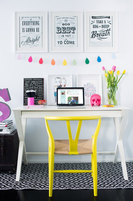 Pop of color for home office