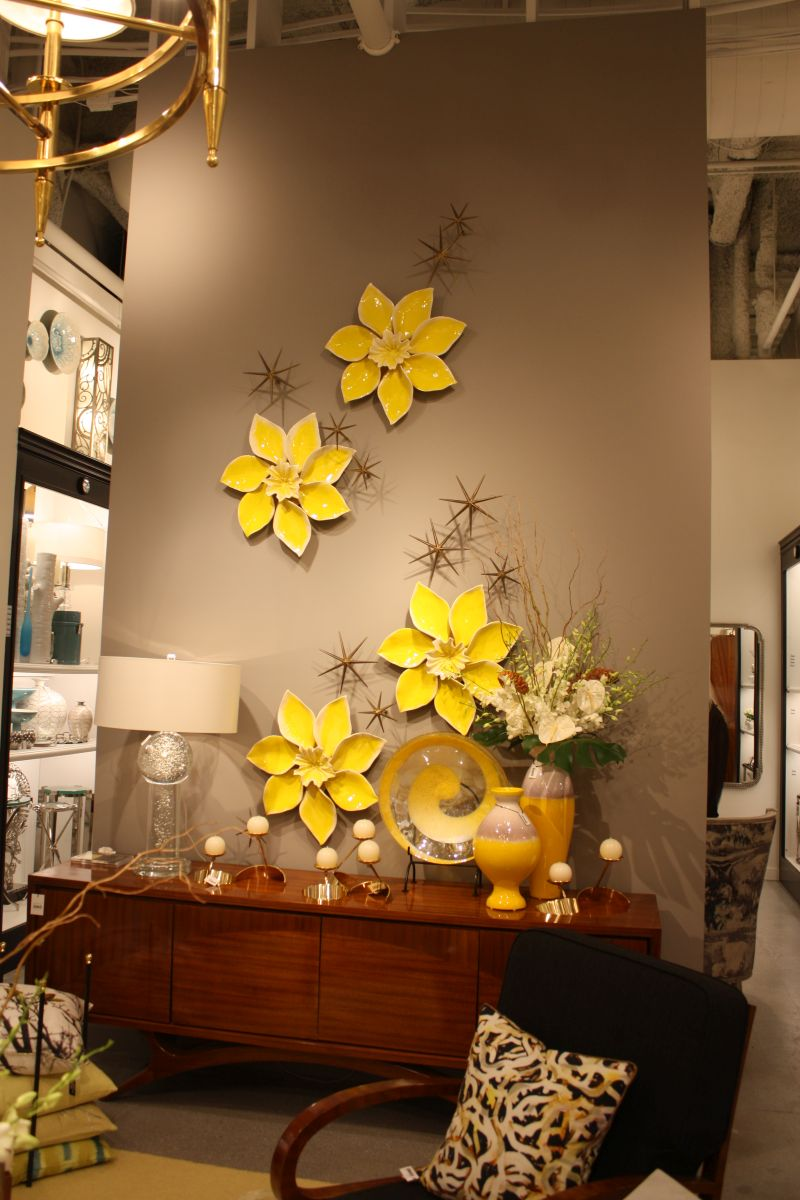 Porcelain yellow flowers on wall
