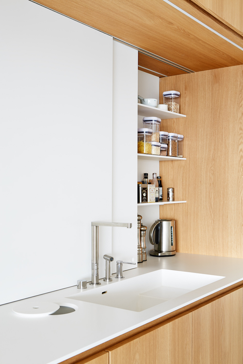Prague triplex apartment kitchen counter and shelves