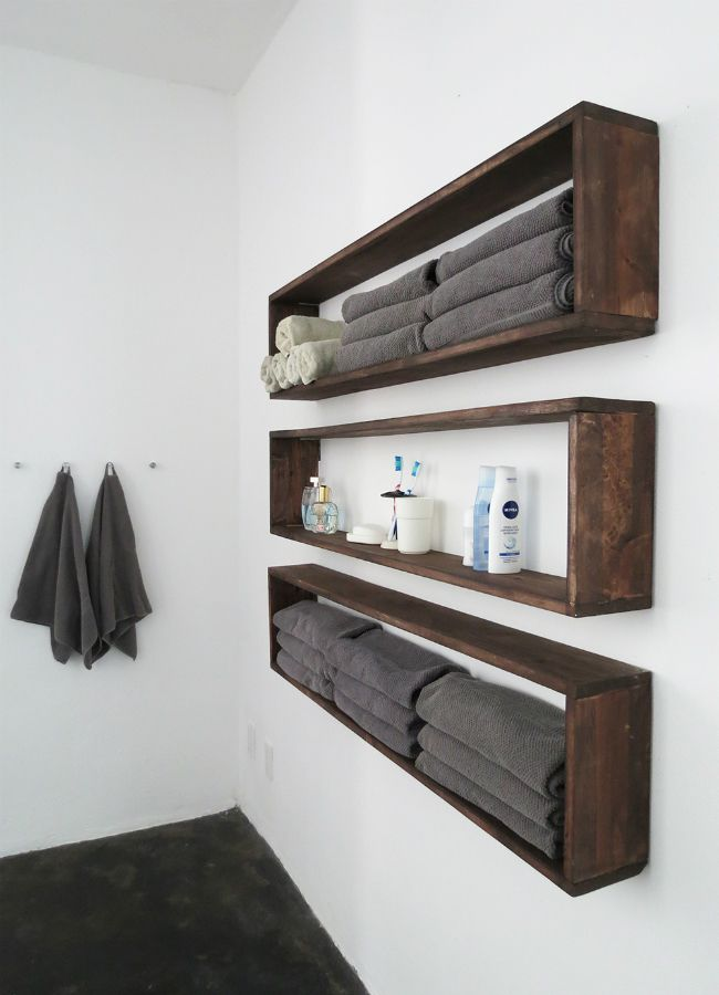 diy bathroom shelves to increase your storage space rh homedit com wooden bathroom shelves with towel bar wooden bathroom shelves with towel bar
