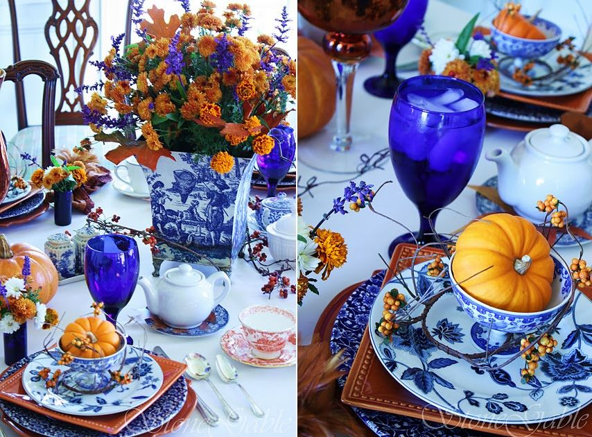 Set a table in indigo for fall