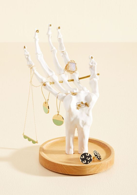 Skeleton hand jewelry stand