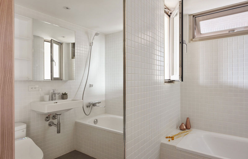 Small apartment loft in Taipei bathroom mirror
