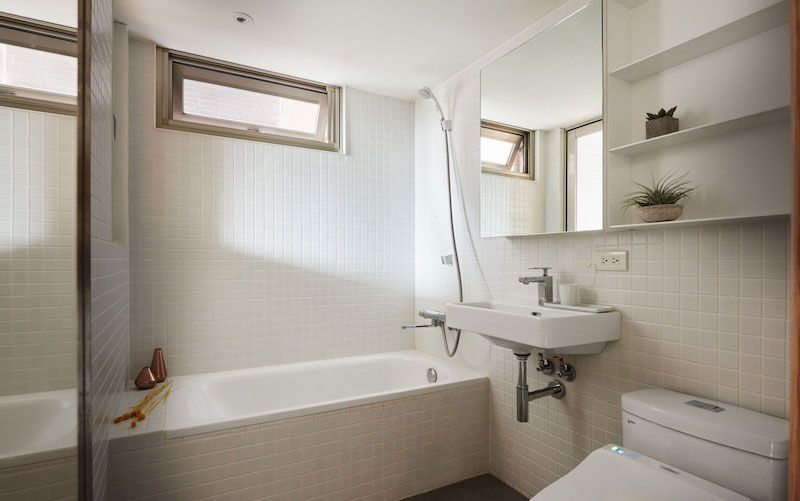 Small apartment loft in Taipei bathroom tub