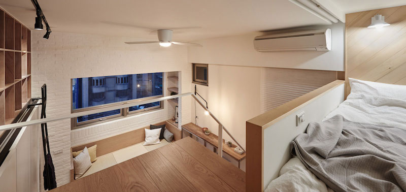Small apartment loft in Taipei mezzanine bed view