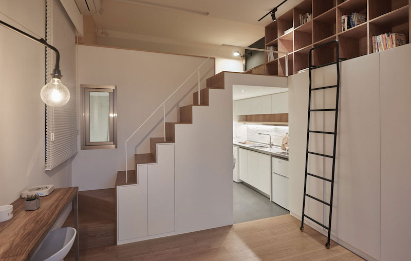 Small apartment loft in Taipei staircase and kitchen