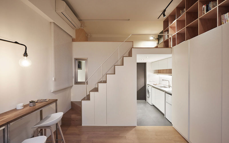 Small apartment loft in Taipei staircase