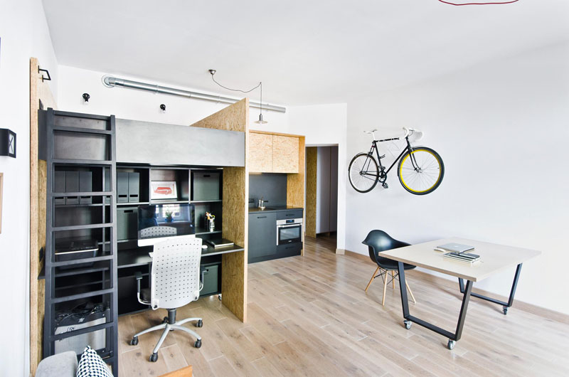 Studio Apartment In Poland Desk And Table