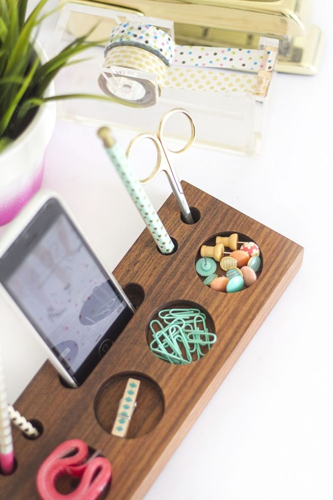 Walnut wood desk caddy