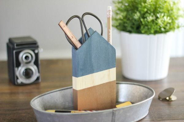 Wood block metalic paint pencil holder