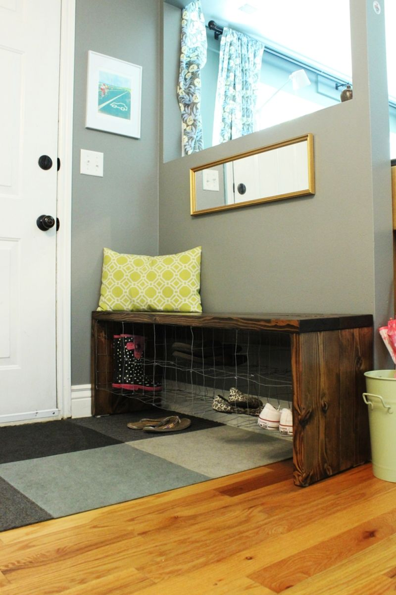 Foyer Bench Shoe Storage : Diy industrial entry shoe bench