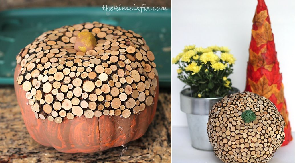 Wood slice pumpkin diy