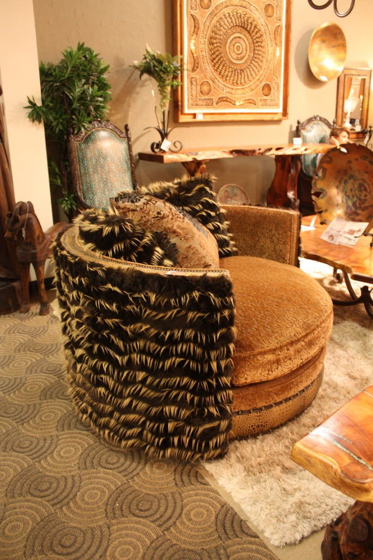 bella rustica fur big round chair