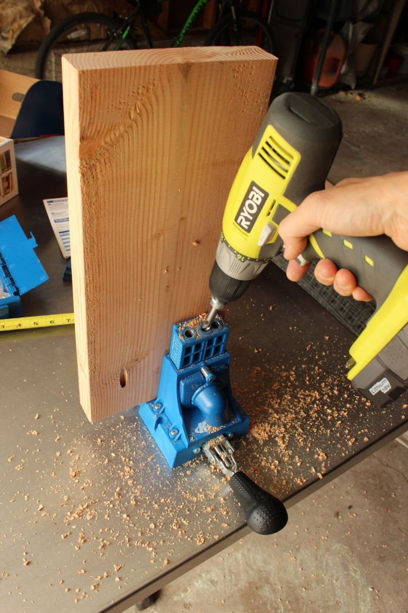 drill the leg-top bench connector holes
