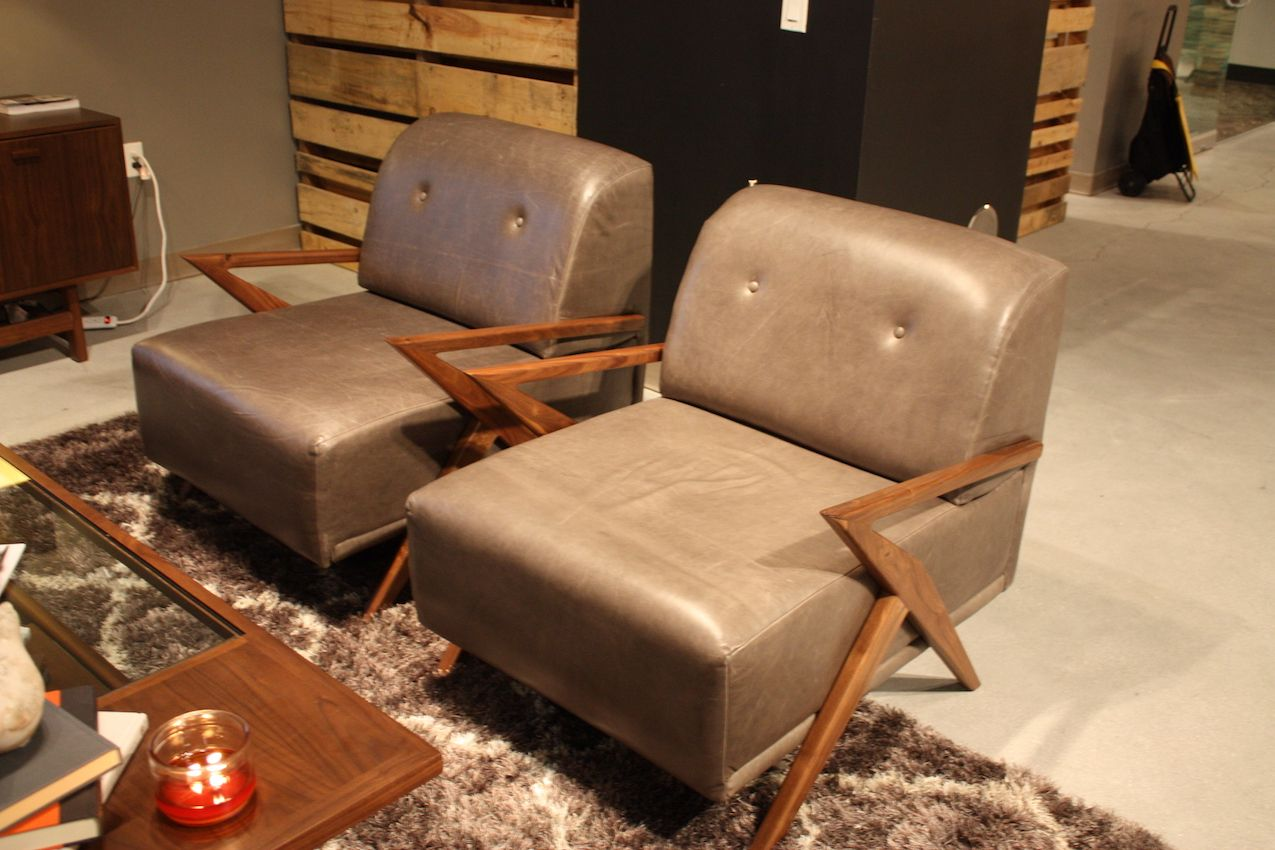 joybird angular leg leather chairs
