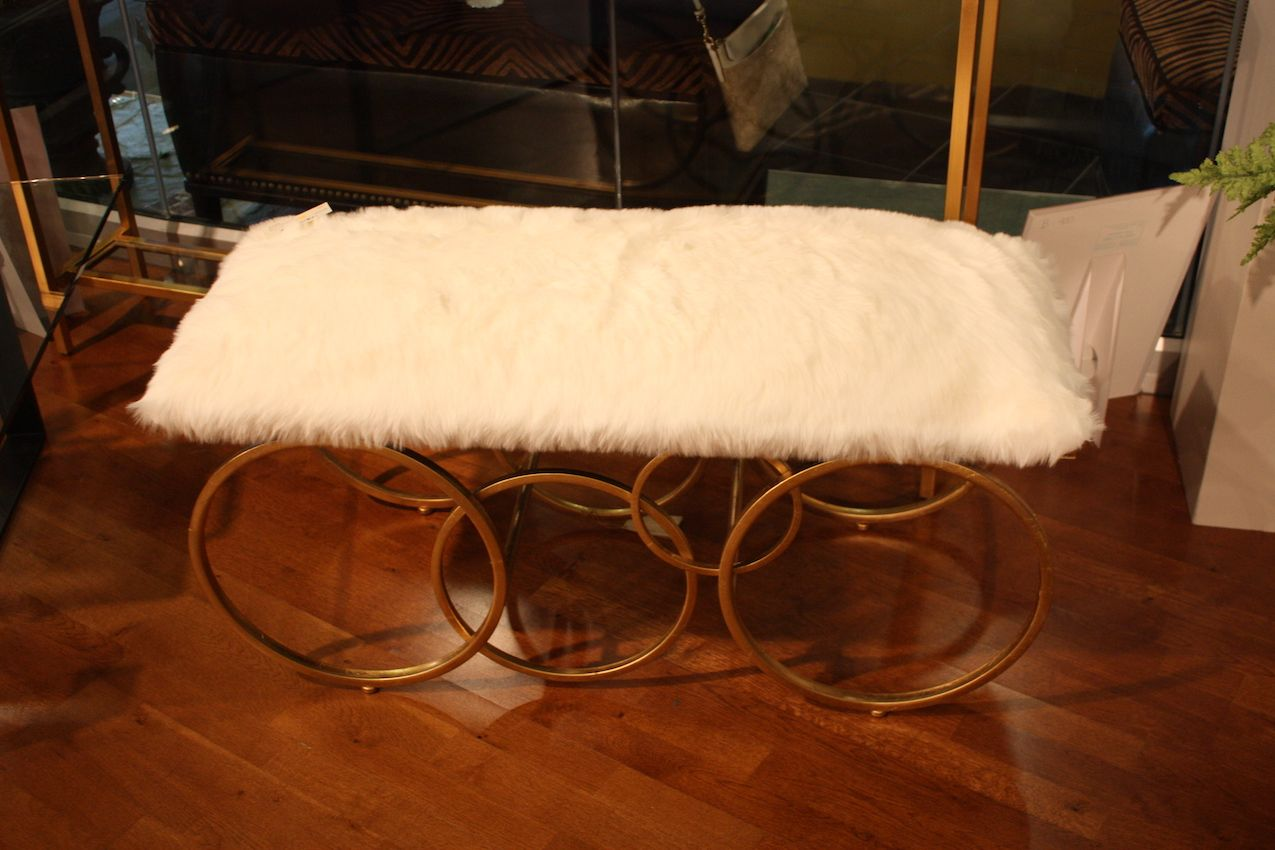 uttermost-fur-bench-design-with-gold-base