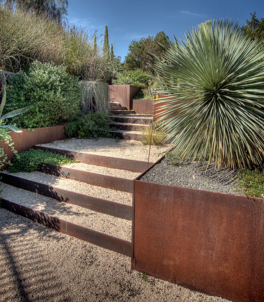 Backyard garden corten stairs and planters