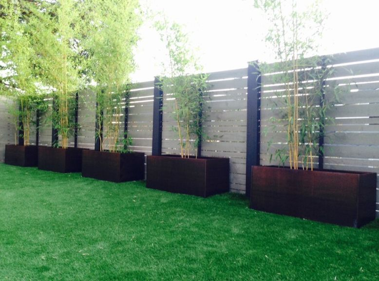 Bamboo corten planters for backyard