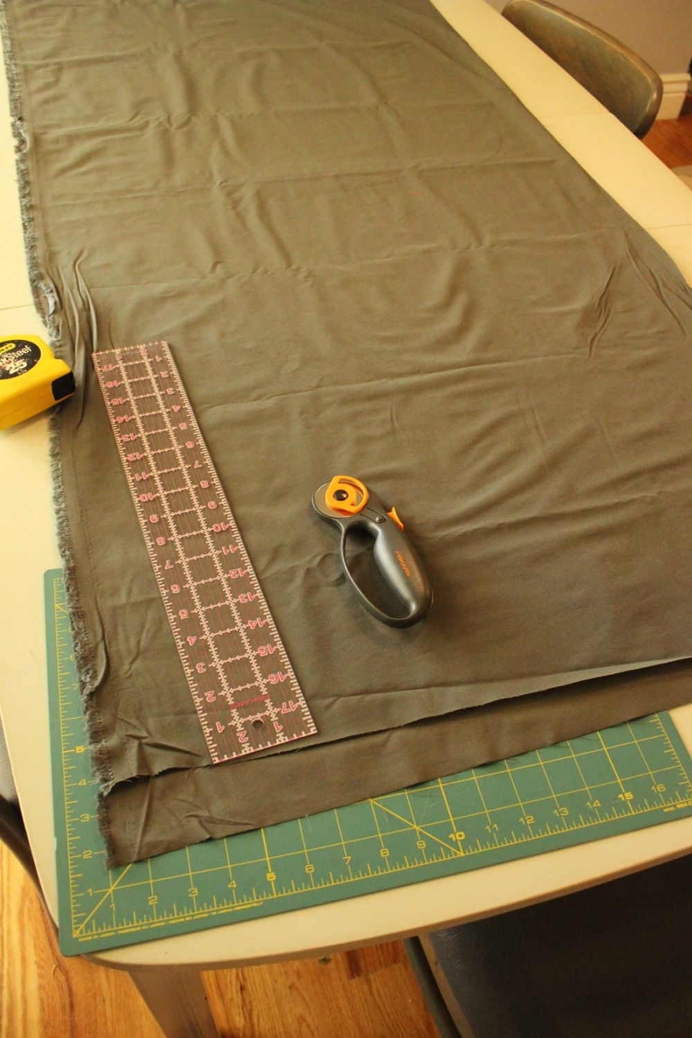 Begin by laying out the fabric