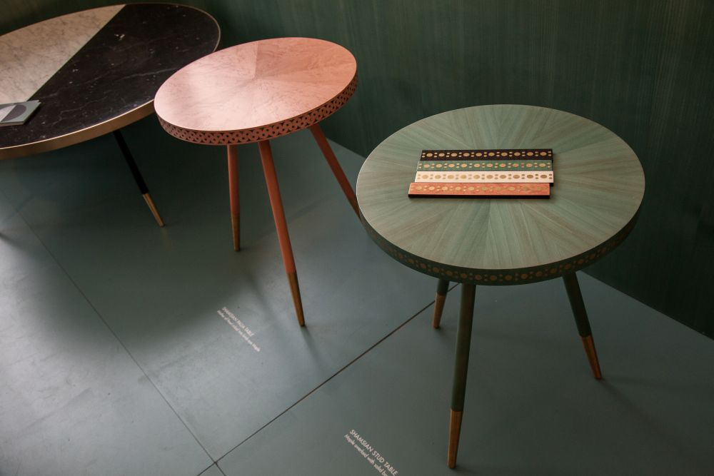 Brogue round side table with slim legs