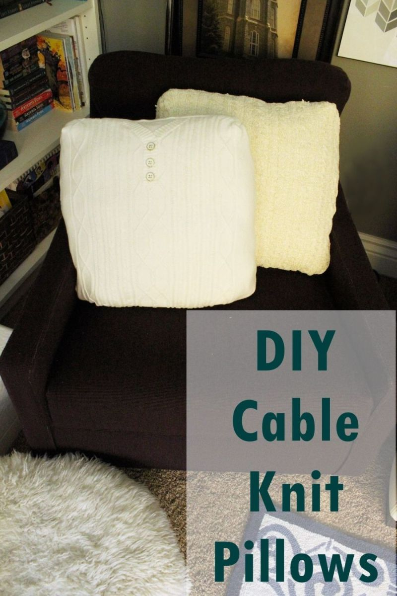 simple diy: cable knit throw pillows out of old sweaters Diy Sofa Pillows