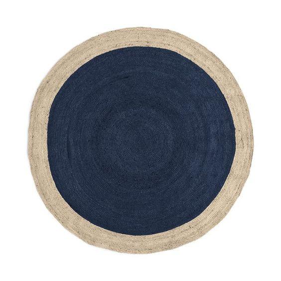 Circle dark floor rug