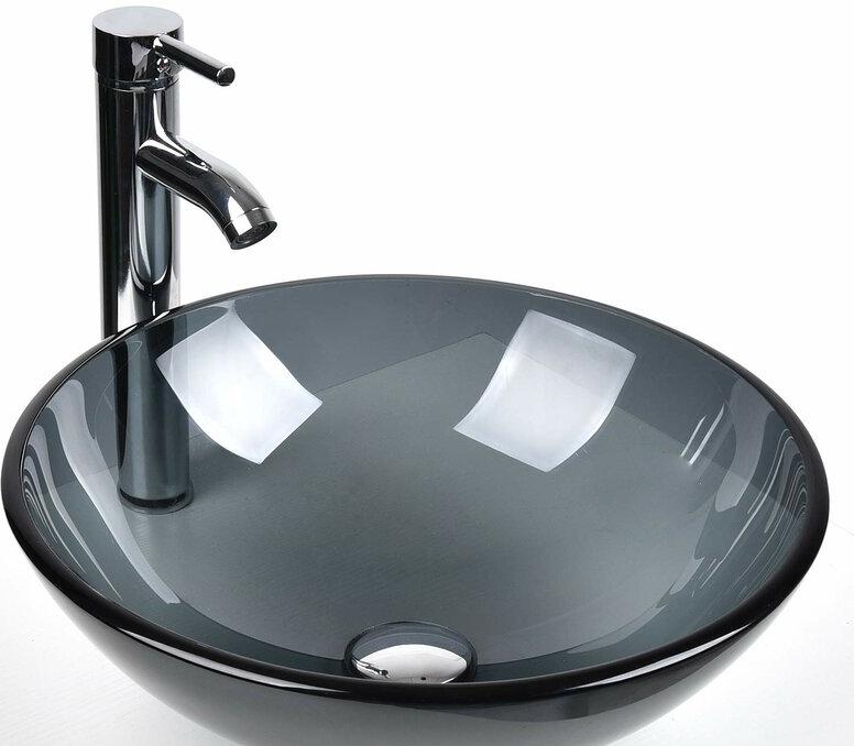 Circular Vessel Bathroom Sink with Faucet