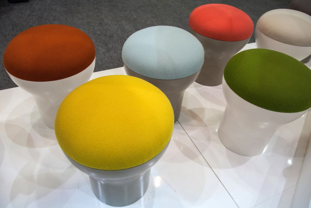 Colorful Cryptogamme stool with white base