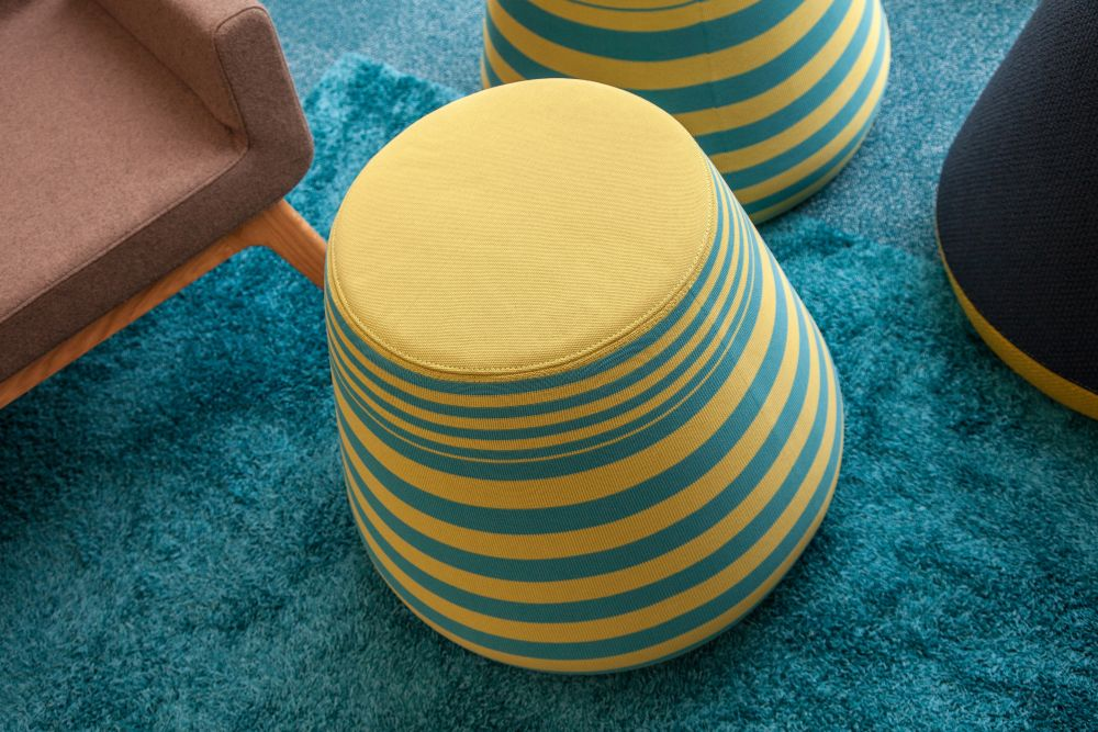 Colorful upholstered stool - blue and yellow