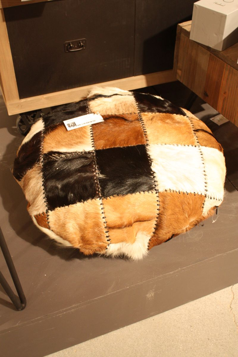 Cowhide ottoman patchwork
