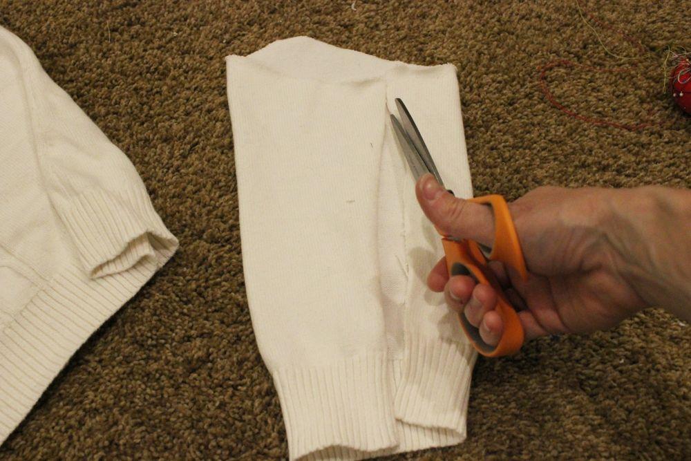 Cut along the sleeve