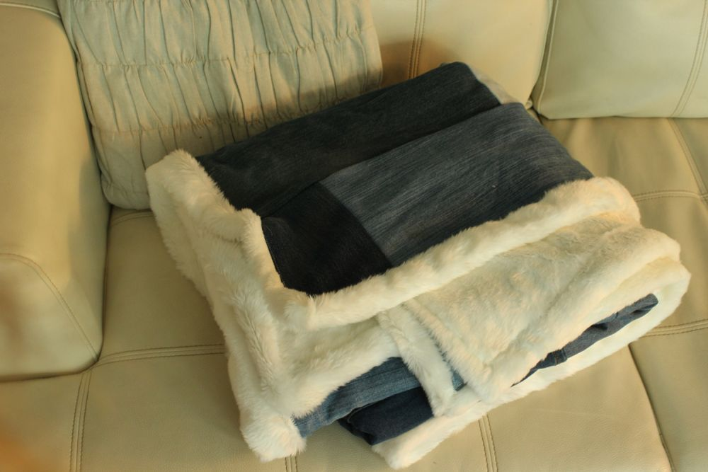 DIY Denim Fur Throw Blanket