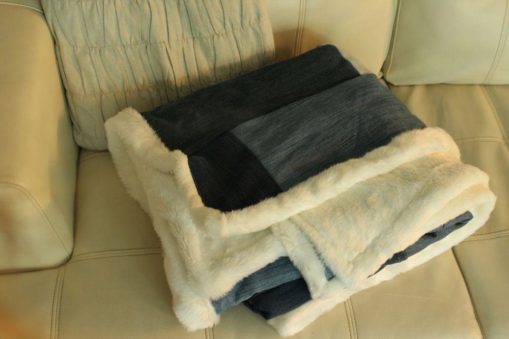 DIY Denim Fur Throw Blanket