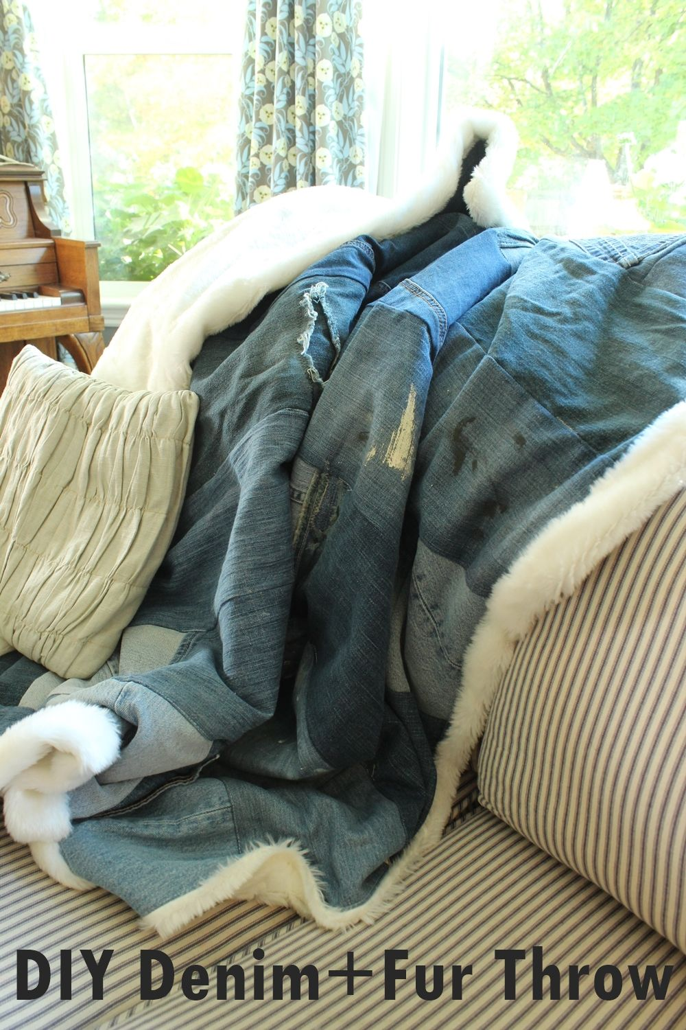 DIY Denim Fur Throw Craft
