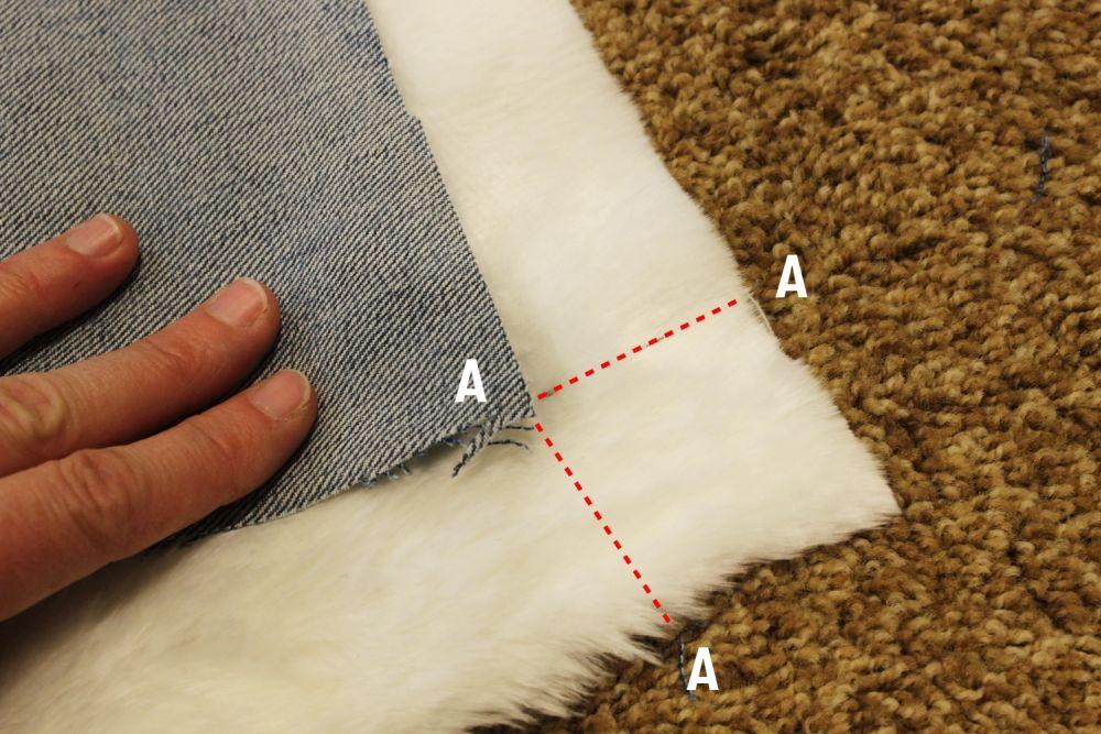 DIY Denim Fur Throw - corners