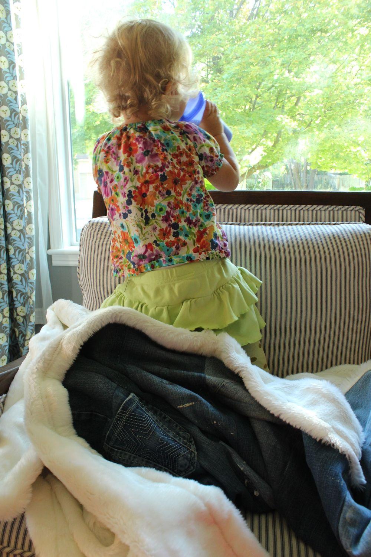 DIY Denim Fur Throw durable