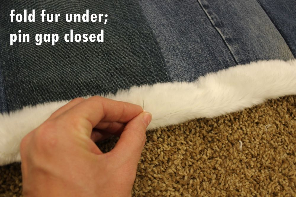 DIY Denim Fur Throw - fold the raw edges