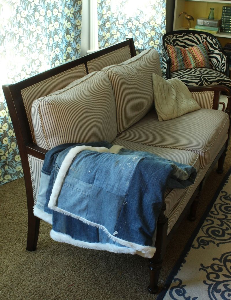 DIY Denim Fur Throw for small couch
