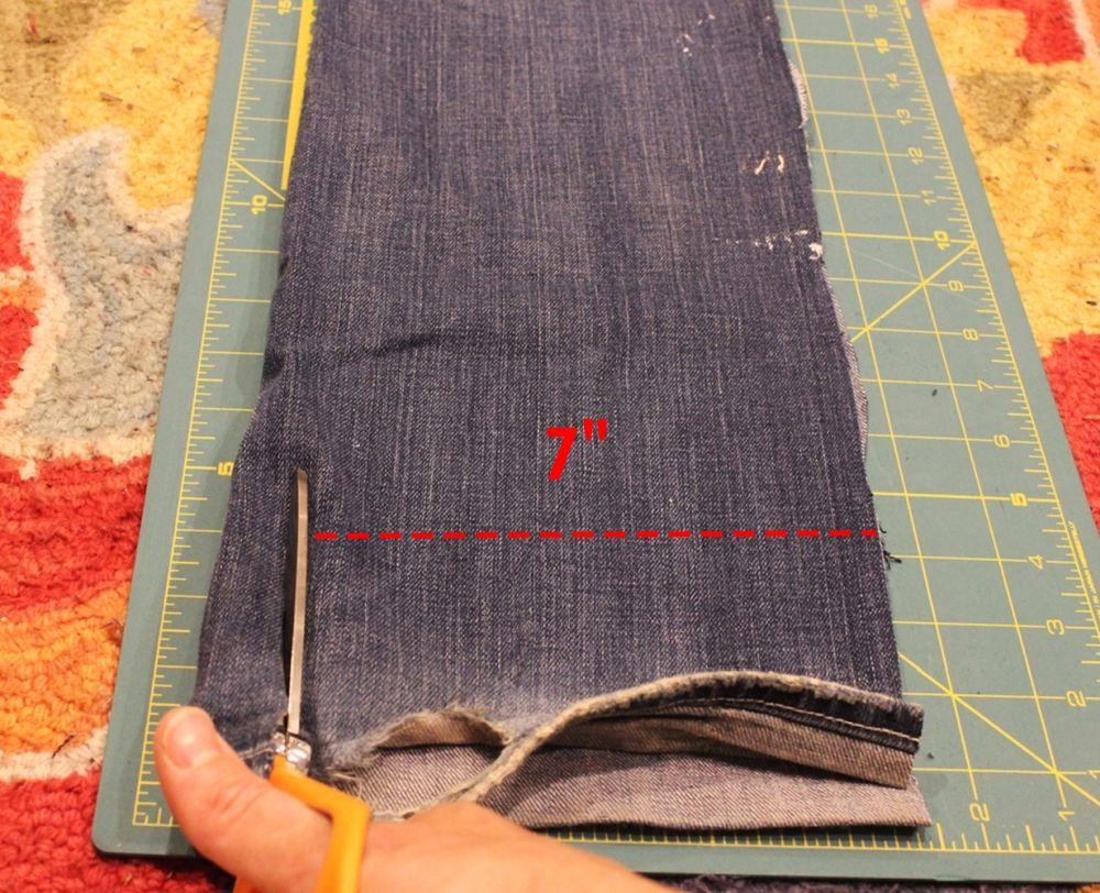 DIY Denim Fur Throw - forming strips of denim