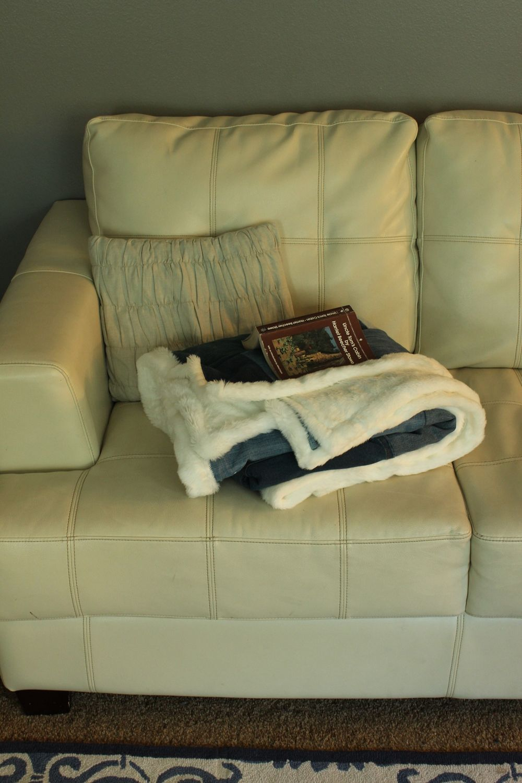 DIY Denim Fur Throw - leather sofa