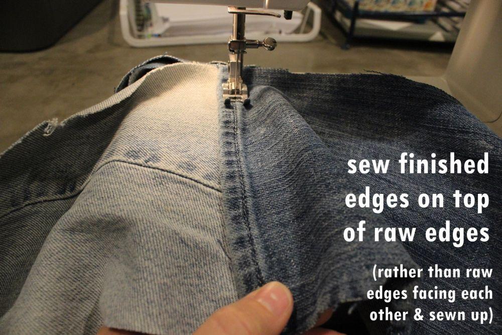 DIY Denim Fur Throw - raw edges